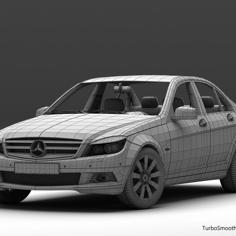 Mercedes C-Class 2008 royalty-free 3d model - Preview no. 13