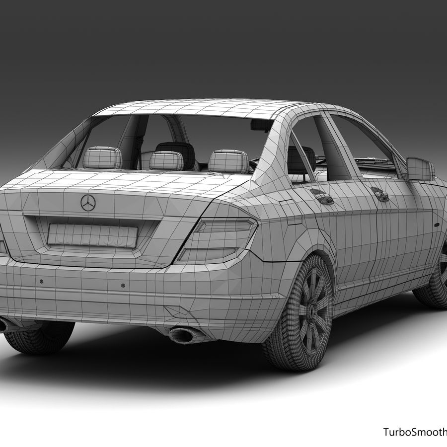 Mercedes C-Class 2008 royalty-free 3d model - Preview no. 15