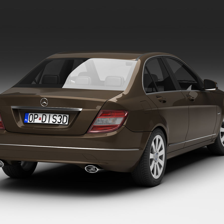 Mercedes C-Class 2008 royalty-free 3d model - Preview no. 2