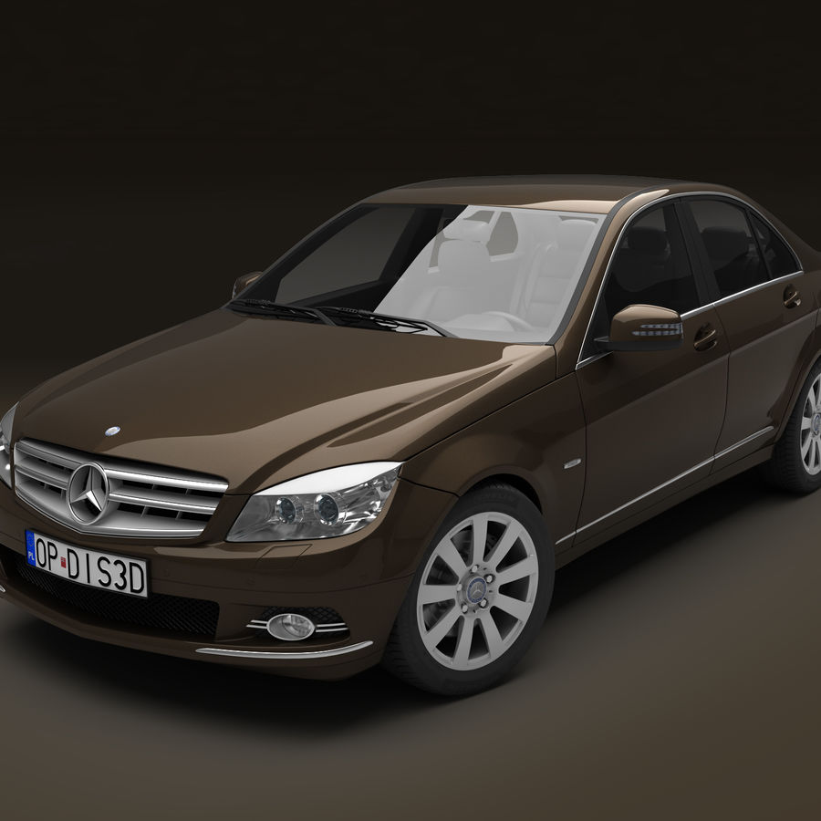 Mercedes C-Class 2008 royalty-free 3d model - Preview no. 12