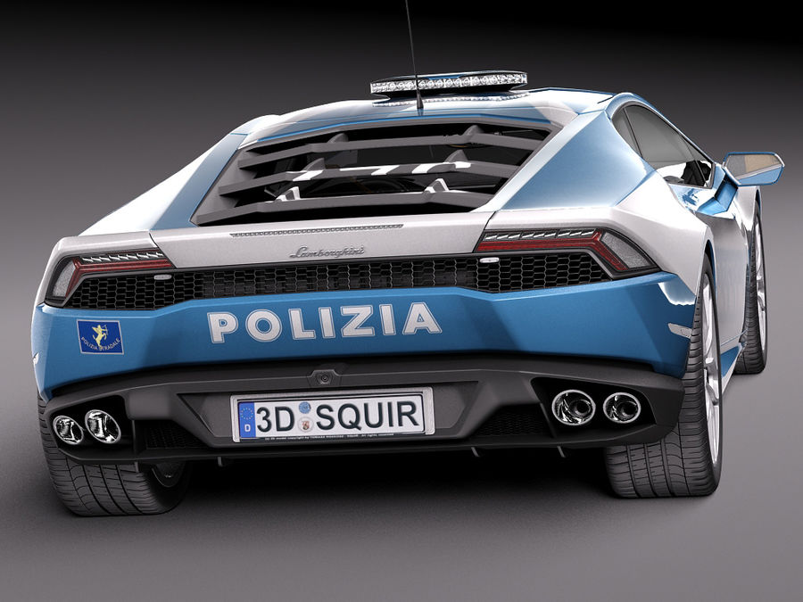 Lamborghini Huracan 2015 Italian Polizia royalty-free 3d model - Preview no. 6