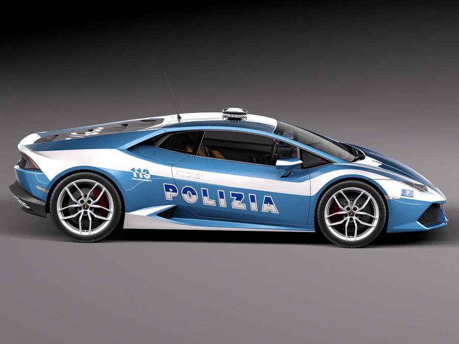 Lamborghini Huracan 2015 Italian Polizia royalty-free 3d model - Preview no. 7