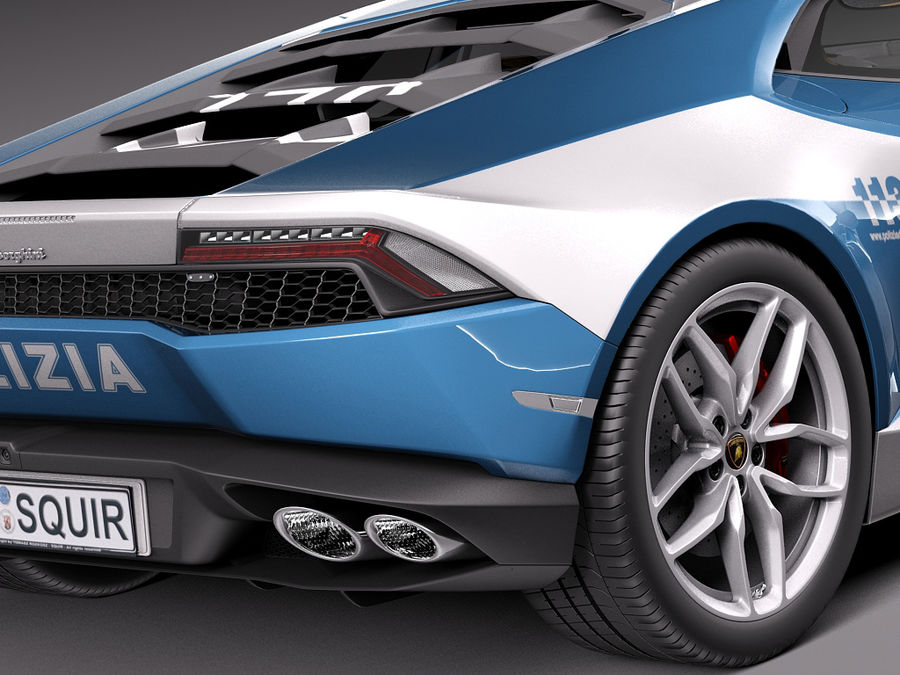 Lamborghini Huracan 2015 Italian Polizia royalty-free 3d model - Preview no. 4