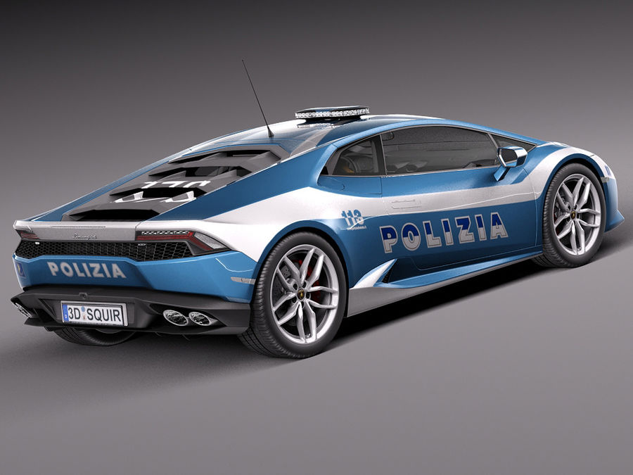 Lamborghini Huracan 2015 Italian Polizia royalty-free 3d model - Preview no. 5