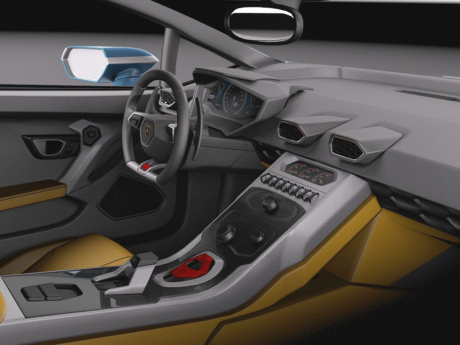 Lamborghini Huracan 2015 Italian Polizia royalty-free 3d model - Preview no. 26