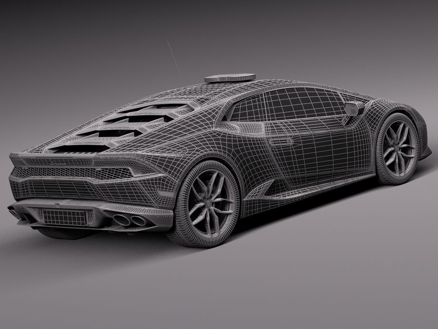 Lamborghini Huracan 2015 Italian Polizia royalty-free 3d model - Preview no. 15