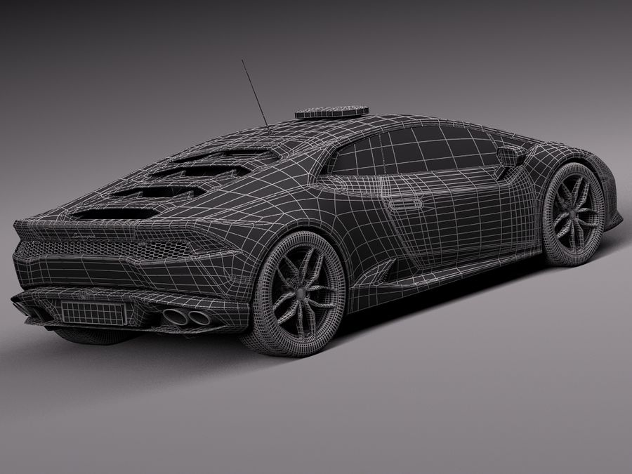 Lamborghini Huracan 2015 Italian Polizia royalty-free 3d model - Preview no. 35