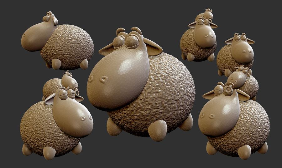 Sheep family royalty-free 3d model - Preview no. 1