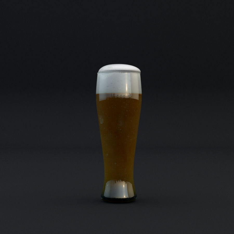 Beer glass royalty-free 3d model - Preview no. 6