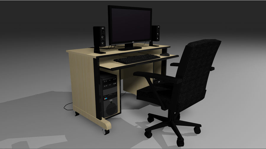 Computer Setup with Desk and Chair royalty-free 3d model - Preview no. 10