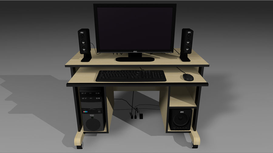 Computer Setup with Desk and Chair royalty-free 3d model - Preview no. 3