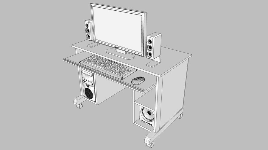 Computer Setup with Desk and Chair royalty-free 3d model - Preview no. 38