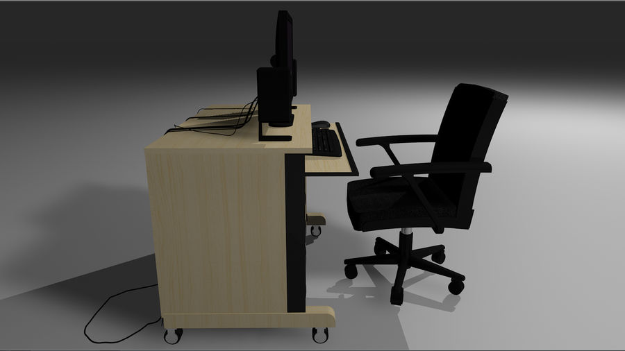 Computer Setup with Desk and Chair royalty-free 3d model - Preview no. 11