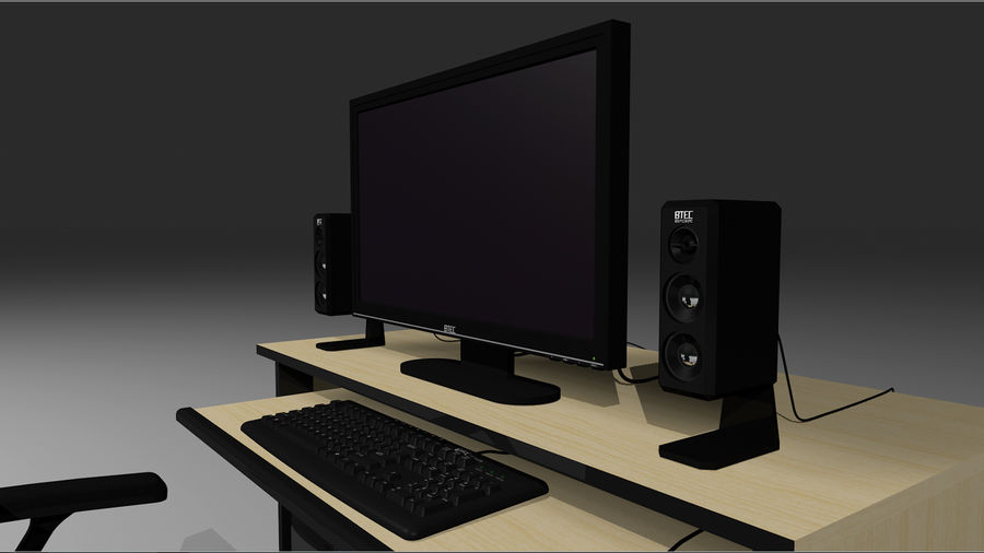 Computer Setup with Desk and Chair royalty-free 3d model - Preview no. 9