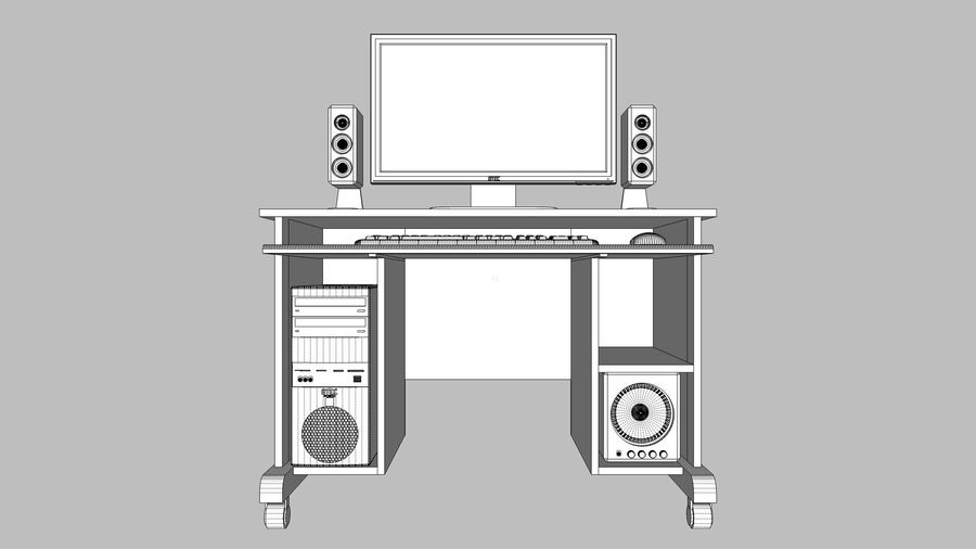 Computer Setup with Desk and Chair royalty-free 3d model - Preview no. 25