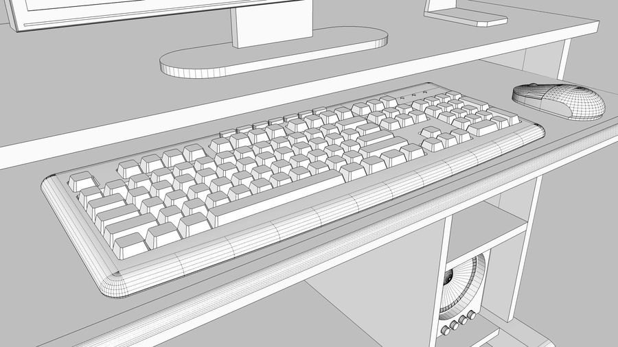 Computer Setup with Desk and Chair royalty-free 3d model - Preview no. 30
