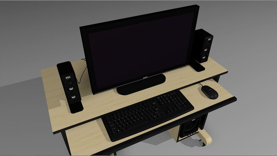 Computer Setup with Desk and Chair royalty-free 3d model - Preview no. 5