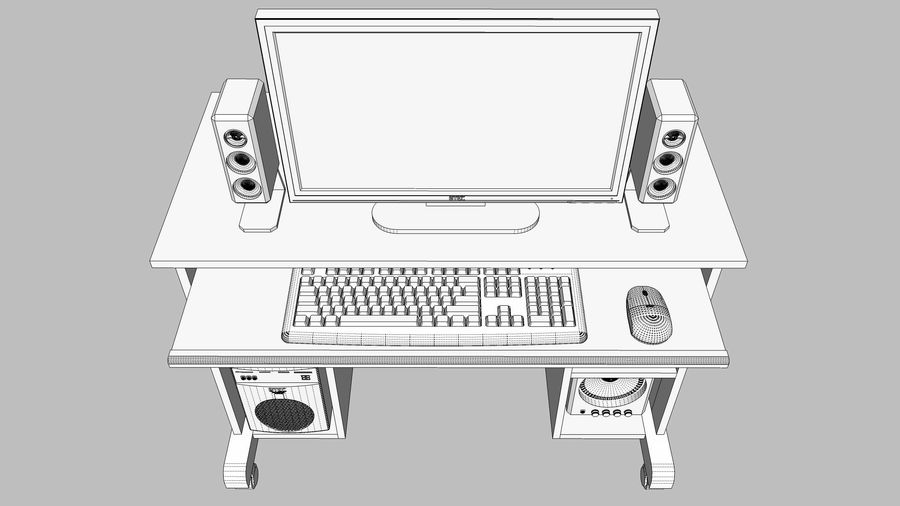 Computer Setup with Desk and Chair royalty-free 3d model - Preview no. 26
