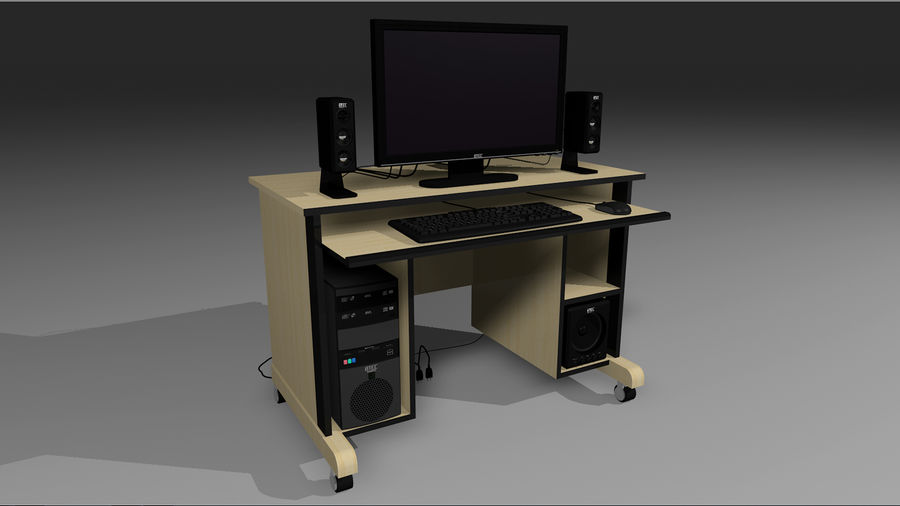 Computer Setup with Desk and Chair royalty-free 3d model - Preview no. 2