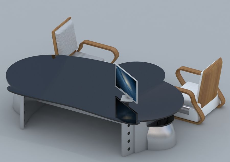 Chair, Office Table, Sofa, Office Furniture royalty-free 3d model - Preview no. 3