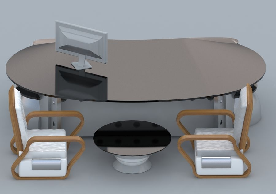 Chair, Office Table, Sofa, Office Furniture royalty-free 3d model - Preview no. 2