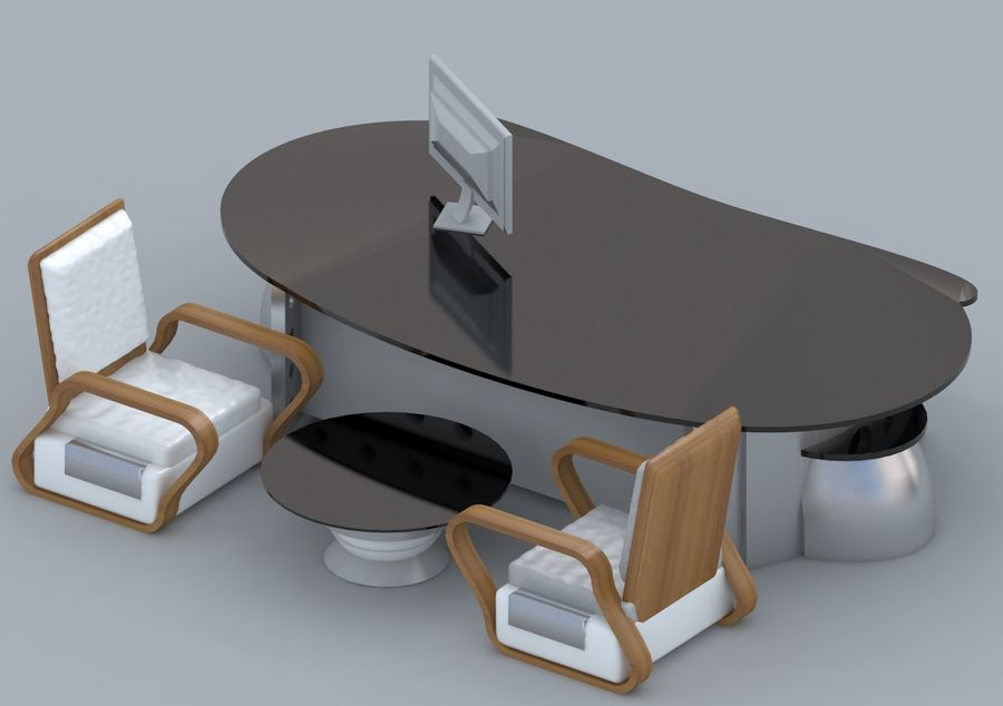 Chair, Office Table, Sofa, Office Furniture royalty-free 3d model - Preview no. 1