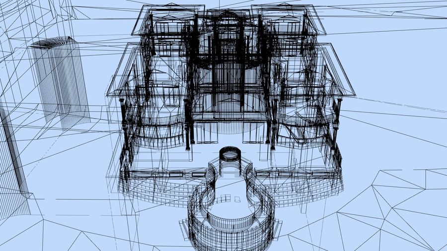 Dom architektury 007 royalty-free 3d model - Preview no. 7