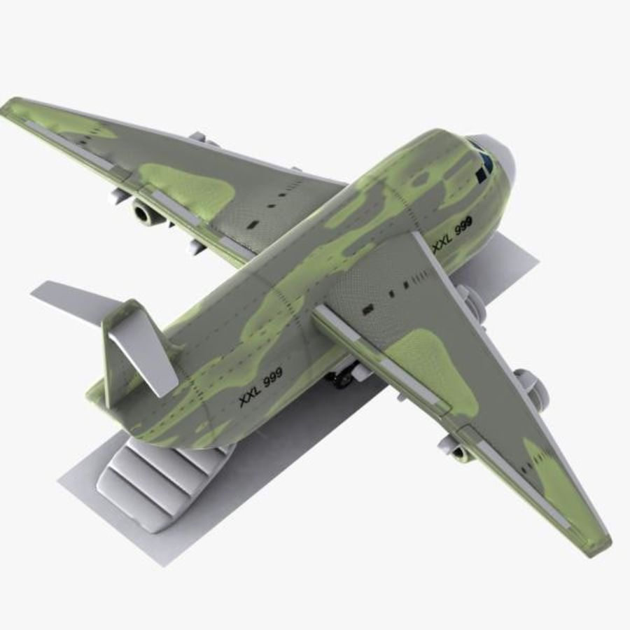 Cartoon Military Cargo Aircraft royalty-free 3d model - Preview no. 6