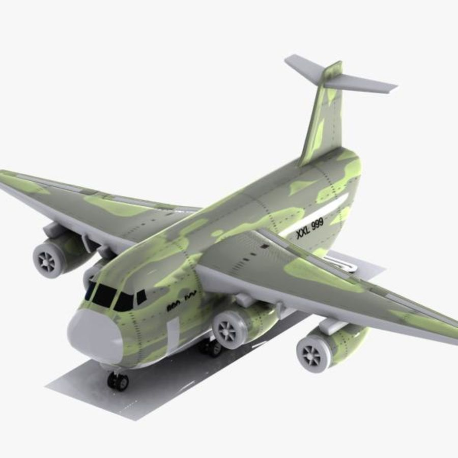 Cartoon Military Cargo Aircraft royalty-free 3d model - Preview no. 9