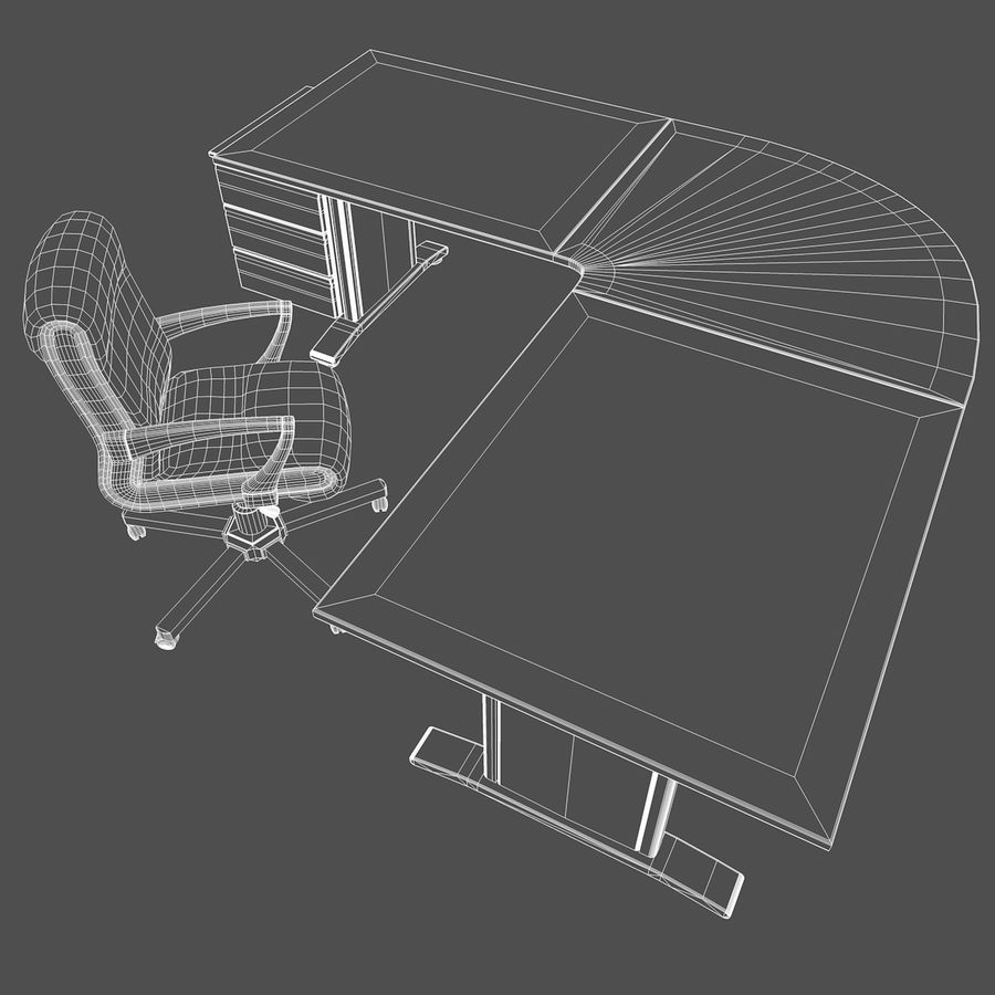 Escritorio y silla de oficina royalty-free modelo 3d - Preview no. 7