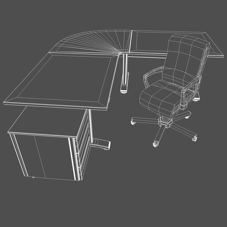 Escritorio y silla de oficina royalty-free modelo 3d - Preview no. 3