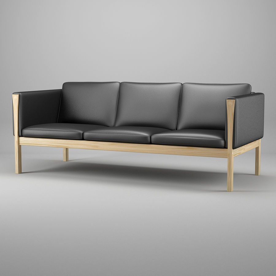 CH163 Hans J. Wegner Sofa royalty-free 3d model - Preview no. 2