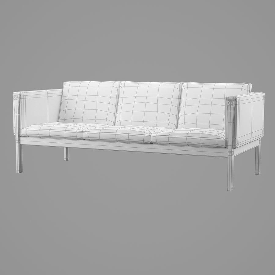 CH163 Hans J. Wegner Sofa royalty-free 3d model - Preview no. 8