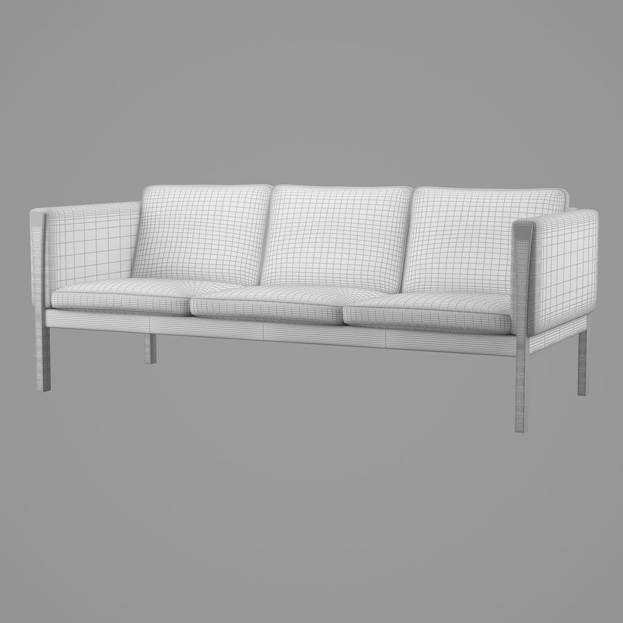 CH163 Hans J. Wegner Sofa royalty-free 3d model - Preview no. 7