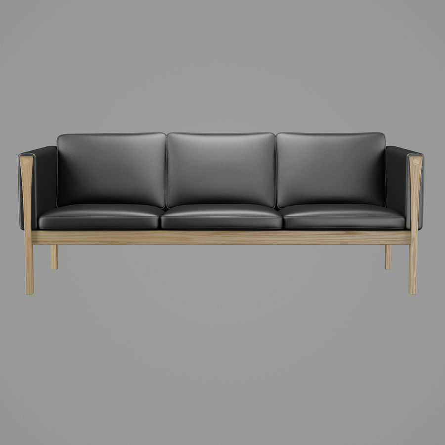 CH163 Hans J. Wegner Sofa royalty-free 3d model - Preview no. 3