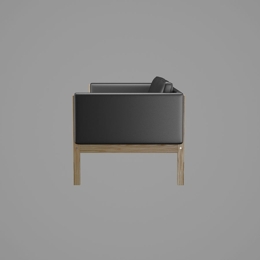 CH163 Hans J. Wegner Sofa royalty-free 3d model - Preview no. 4