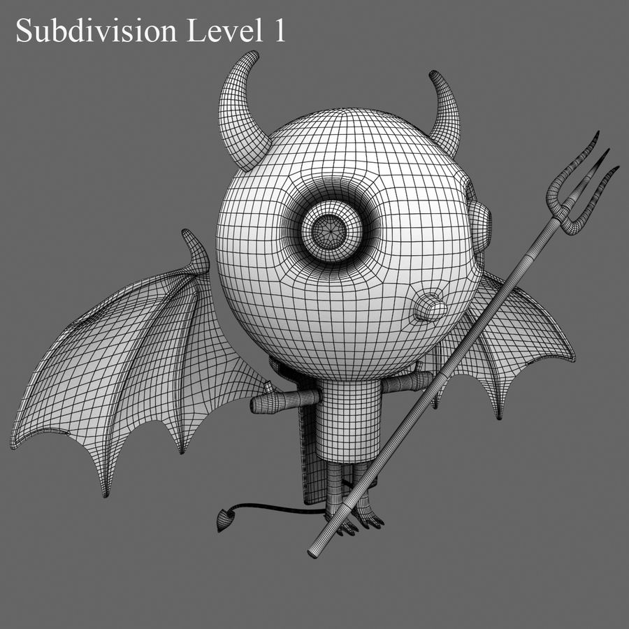 귀여운 악마 royalty-free 3d model - Preview no. 17