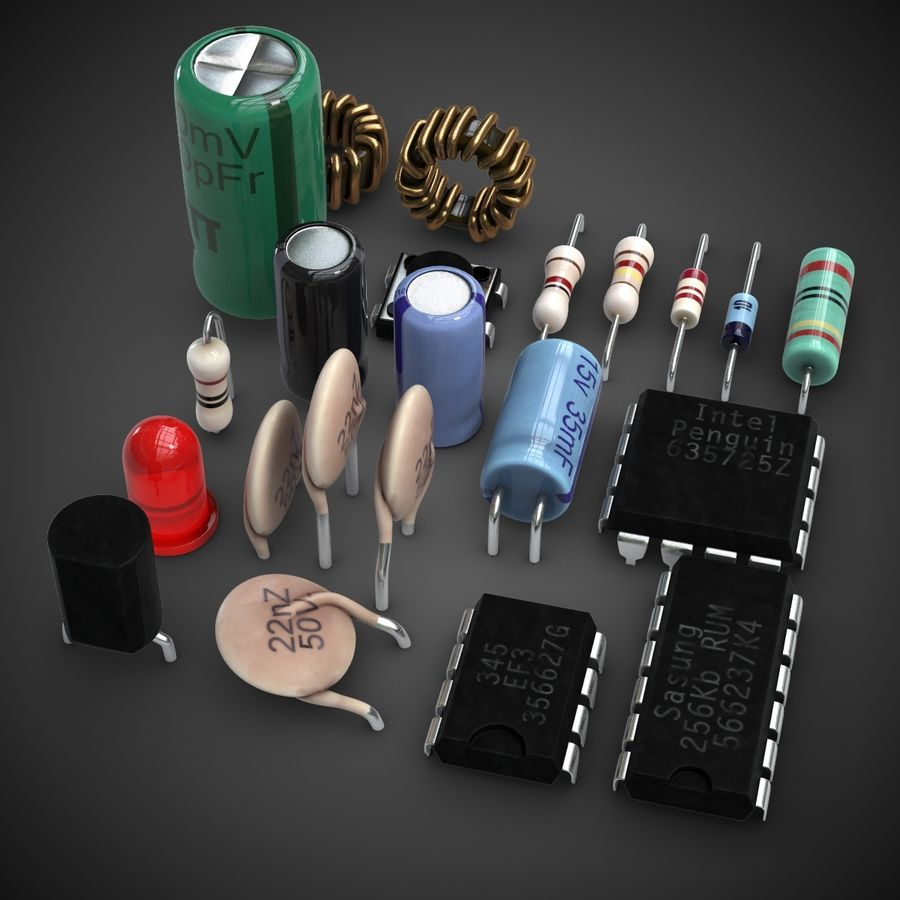 Electronic Components royalty-free 3d model - Preview no. 4