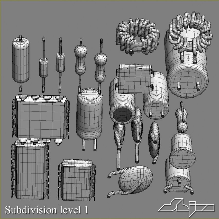 Elektronische Bauteile royalty-free 3d model - Preview no. 12