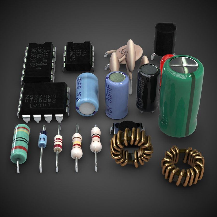 Electronic Components royalty-free 3d model - Preview no. 5