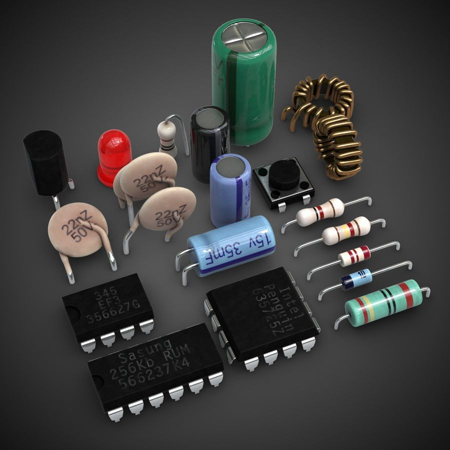 Electronic Components royalty-free 3d model - Preview no. 2