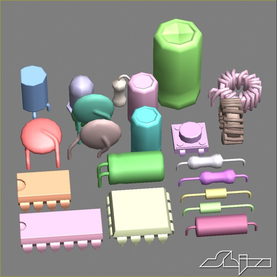 Electronic Components royalty-free 3d model - Preview no. 13