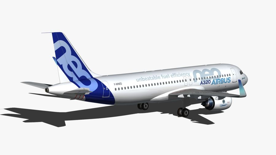 Airbus A320 NEO royalty-free 3d model - Preview no. 3