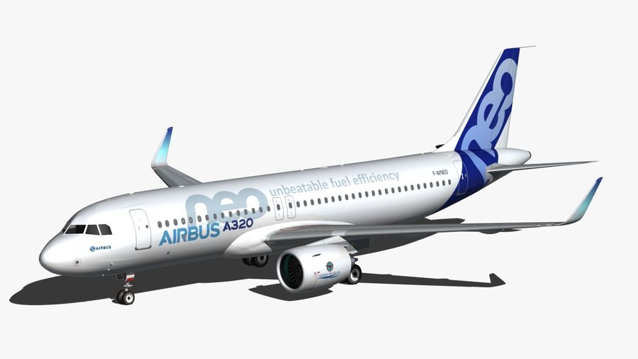 Airbus A320 NEO royalty-free 3d model - Preview no. 2