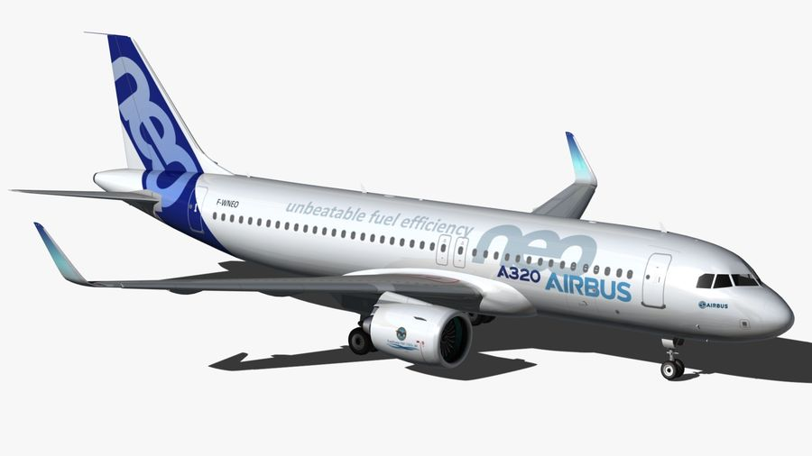 Airbus A320 NEO royalty-free 3d model - Preview no. 4