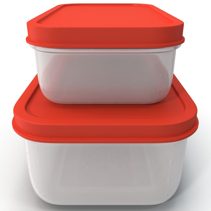 Plastic Food Containers royalty-free 3d model - Preview no. 2