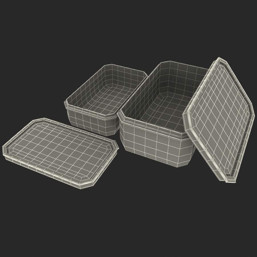 Plastic Food Containers royalty-free 3d model - Preview no. 28