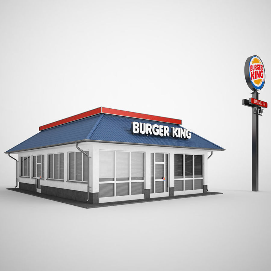 Burger King Restaurant 01 royalty-free 3d model - Preview no. 2