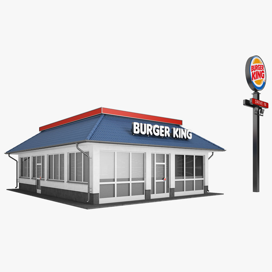 Burger King Restaurant 01 royalty-free 3d model - Preview no. 1