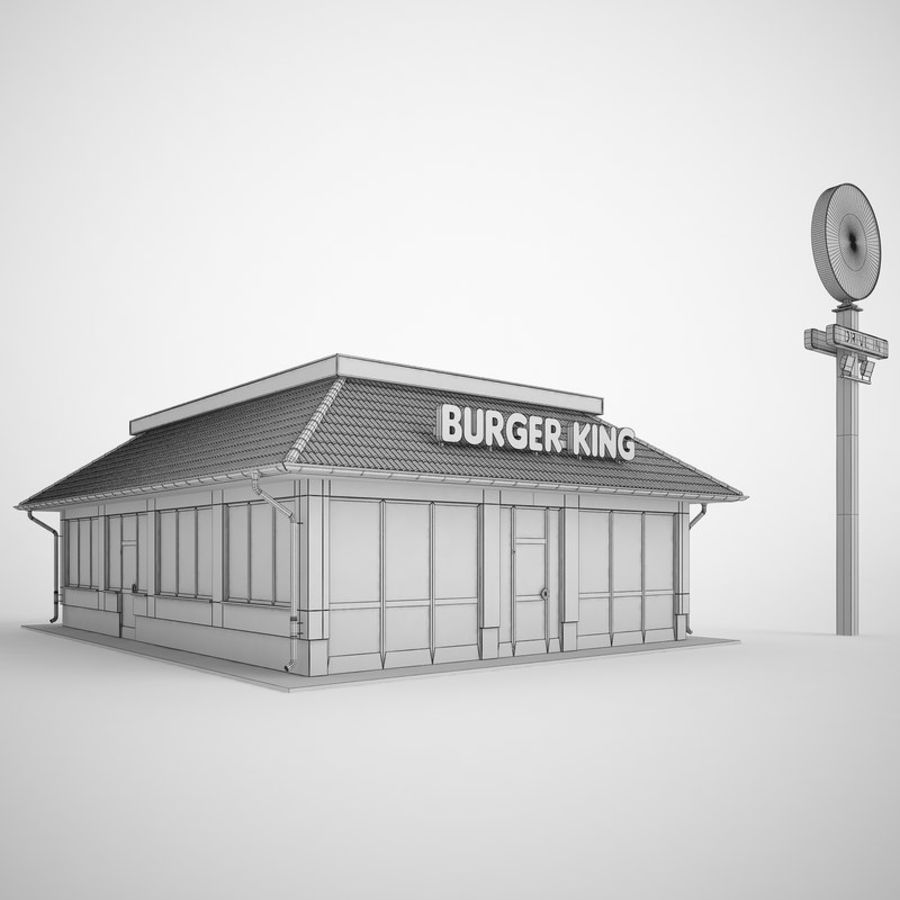 Burger King Restaurant 01 royalty-free 3d model - Preview no. 4